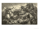 Alfonso of Castile with the Kings of Aragon and Navarre Defeats the Moors at Tolosa Premium Giclee Print by Hermann Vogel