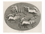 Four Four-Horse Chariots Racing in an Arena Giclee Print