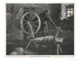 Wool-Spinning in a Cottage at Lismore Ireland Giclee Print by Margery Stokes