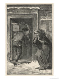 Workhouse Funeral a Poor Woman is Distraught as the Body of Her Husband is Carried Away Reproduction proc&#233;d&#233; gicl&#233;e par F. Wentworth