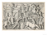 Roman Soldiers Set Fire to a Hostile German Village Giclee Print