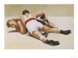 Wrestling: Foldeak Beats Jensen Giclee Print