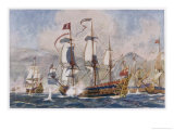 English Warships Under Admiral Blake in Action Against the French at Santa Cruz Giclee Print by Norman Wilkinson