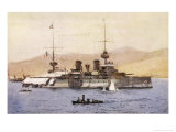 The French Battleship Suffren a Prominent Member of the Allied Fleet During the Gallipoli Campaign Giclee Print by Norman Wilkinson