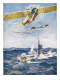 Seaplanes Attack a Surfaced Submarine in a Battle for the Supremacy of the Waves Giclee Print by Norman Wilkinson