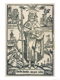 Saint James the Great in the Traditional Costume of a Pilgrim to Compostella in Northern Spain Giclée-tryk