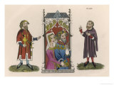 Noble Couple Listen to Two Members of Their Entourage Giclee Print by Joseph Strutt
