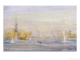Ships of the Allied Forces Bombard Turkish Batteries at Chanak Giclee Print by William Lionel Wyllie
