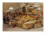 Beautiful Display of Citrus Fruit and Vegetables at the Market in Mentone Giclee Print by Walter Tyndale