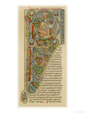 "Illuminated Letter ""P"" Showing King Solomon Writing His ""Proverbs"", from a German Bible Giclee Print"