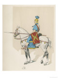 Roman Cavalryman with Shield Lance and Plumed Helmet Giclee Print by L. Vallet