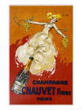 Poster for Chauvet Champagne Reproduction procédé giclée par J. J. Stall