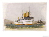 Cunard Passenger Liner Used During World War One as a Hospital Ship in the Gallipolli Campaign Giclee Print by Norman Wilkinson
