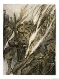 "The German Use of ""Liquid Fire"" Terrifies Allied Soldiers Giclee Print"