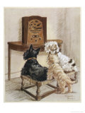 Three Dogs Enjoy a Radio Broadcast Premium Giclee Print by Marjorie Turner