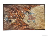 Yamato-Dake Destroys His Enemies with His Magic Sword Which Also Protects Him from Fire Giclee Print by R. Gordon Smith