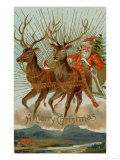 Santa and His Reindeer Flying Through the Sky with a Sleigh Full of Christmas Goodies Reproduction procédé giclée