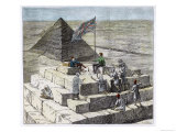 Tourists Enjoy a Picnic on the Great Pyramid Giclee Print