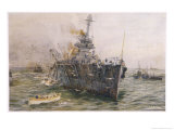Audacious' One of the Most Powerful Members of the Allied Fleet is Sunk by a German Mine Giclee Print by William Lionel Wyllie