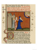 Page from a French Bible History Showing God Telling Abraham What He is to Do Giclee Print