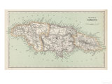 Map of Jamaica Premium Giclee Print