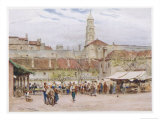 Market Day in Split (Now in Croatia) on the Dalmatian Coast Giclee Print by Walter Tyndale