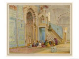 Moslems at Prayer in the Blue Mosque Cairo Giclee Print by Walter Tyndale