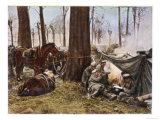 German Soldiers Rest in Their Camp in a Polish Wood Giclee Print