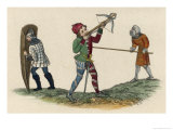 English Soldiers with Shield Pike and Crossbow Giclee Print by Joseph Strutt