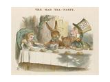 Alice på Hattmakarens tekalas Gicléetryck av John Tenniel