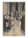 Becket Defies Henry II Giclee Print by E.f. Stummer