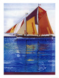 Sailing Ship with Coloured Sails in a Very Blue Sea Giclee Print