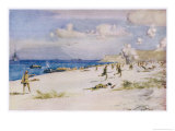 Facing Comparatively Light Opposition British Troops Land Giclee Print by Norman Wilkinson