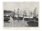 The Naval Engagement on Lake Champlain Between Gunboats of the British and American Colonial Forces Premium Giclee Print