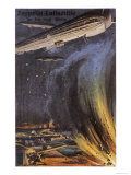 Three Zeppelins Attack British Defences on the English Coast Giclee Print