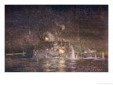 The British Light Cruiser Hms Amethyst Engages Turkish Batteries Giclee Print by William Lionel Wyllie