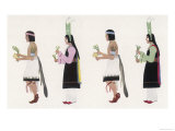 Native American Men and Women Dancing with Drums and Herbs Giclee Print