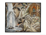 Praying Under Waterfall Giclee Print by R. Gordon Smith