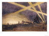 The Shadows of Soldiers are Projected onto the Night Sky by Flares and Searchlights Giclee Print