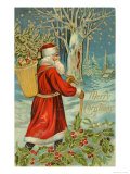 Father Christmas Trudging Through the Snow Giclee Print