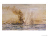 "At the Battle of Jutland Hms ""Southampton"" Sails Under Fire from the German Fleet Stampa giclée di William Lionel Wyllie"