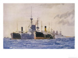 Hms Exmouth Flanked by Support Ships in Kephalo Harbour Giclee Print by Norman Wilkinson