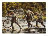 German Troops One Carrying His Bicycle Cross a Stream as They Move into Eastern France Giclee Print