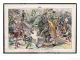 Theodore Roosevelt 26th American President Depicted as a Circus Ringmaster Giclee Print by Eugene Zimmerman
