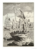 Bougainville and His Men Raise the French Flag on a Small Rock on the Magellan Straits Giclée-Druck von Vangro
