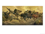 German Horse-Drawn Artillery Moves Forward at Breakneck Speed, Probably Literally! Giclee Print by C. Speyer