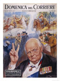 Winston Churchill Commemorative Portrait with Scenes from His Life Giclee Print