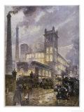 Traffic Passing the Smoking Chimneys of Horrockses Crewdson and Co Giclee Print by C.e. Turner