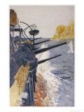 British Cruiser Hms Theseus Bombards Turkish Gun Emplacements Giclee Print by Norman Wilkinson