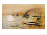 The British Second Division of Battleships Fire on the Germans at the Battle of Jutland Giclee Print by William Lionel Wyllie